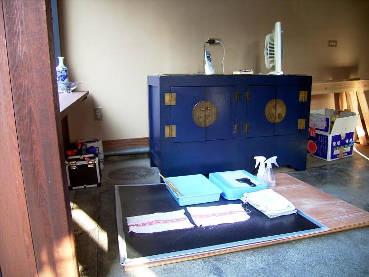 工事中の唐紙工房1