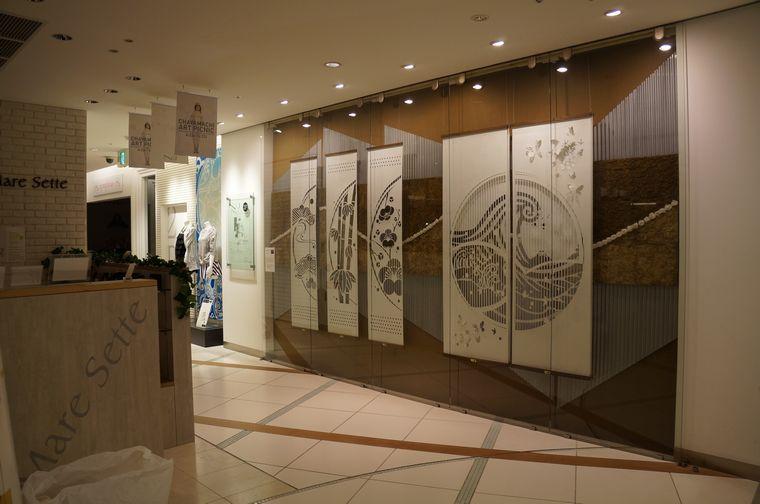NU茶屋町で開催のアートピクニックに出展中の大判和紙のkon-gara作品