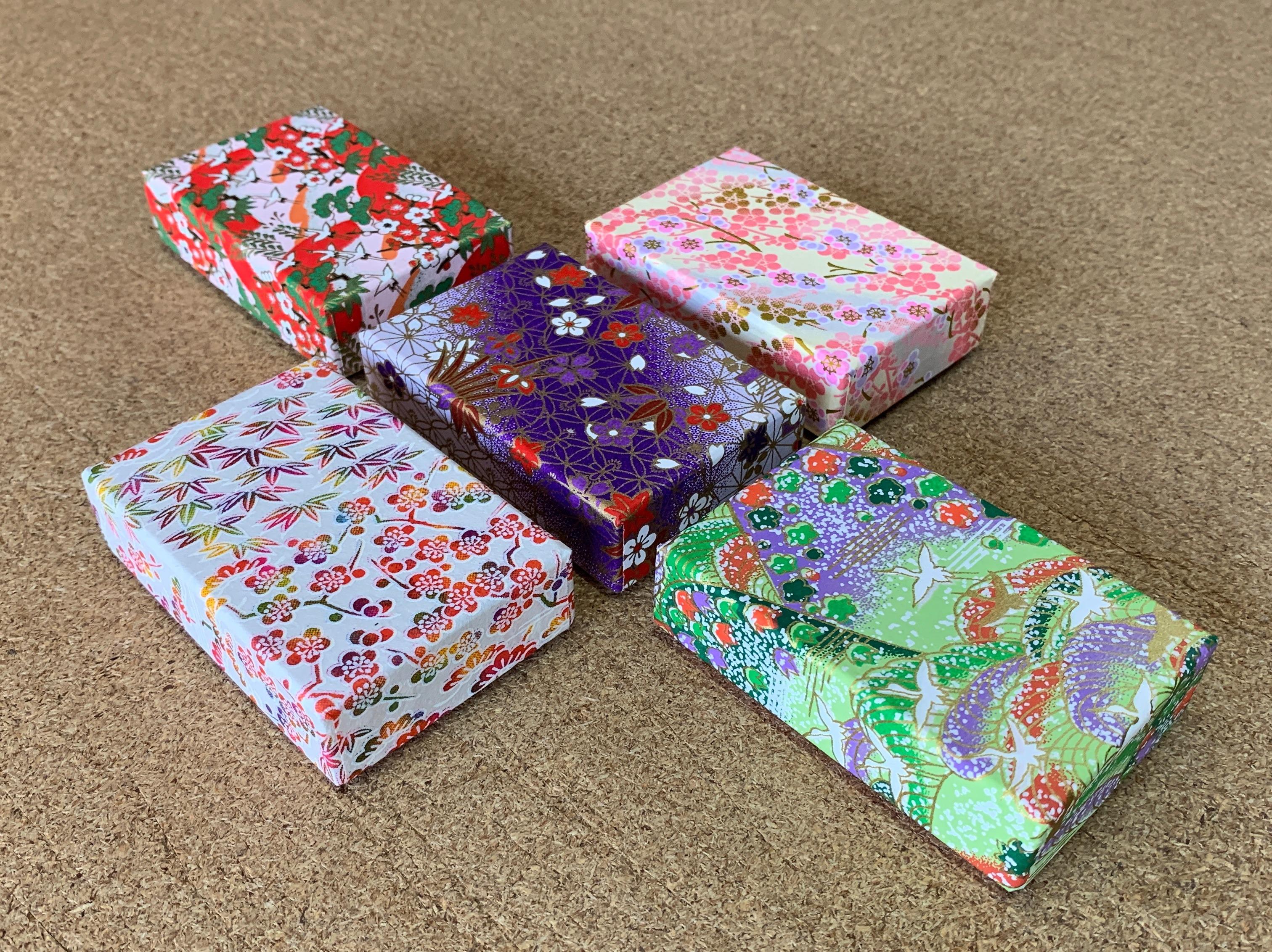 平成最後に別注で作製した貼箱は千代紙を使った5種類の小箱でした