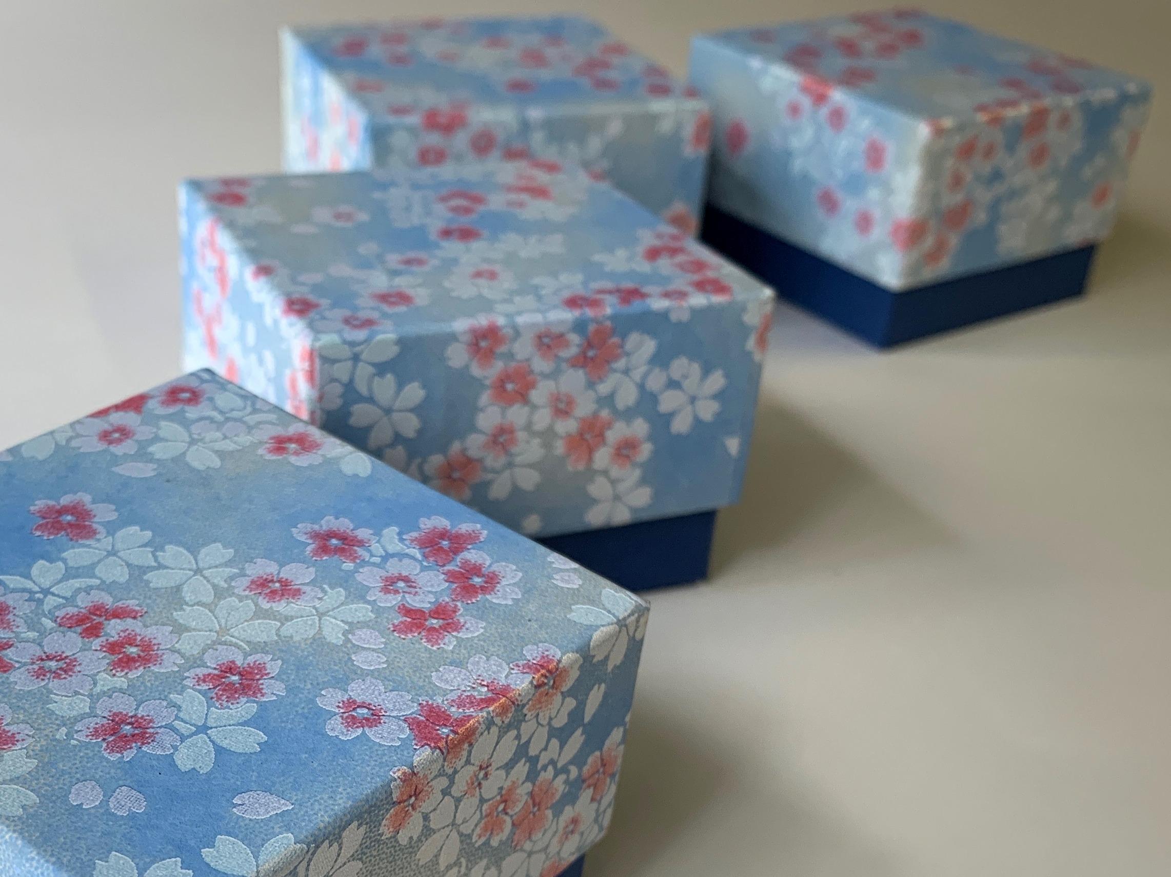 スイス向けの貼箱は千代紙を使用した手のひらサイズの別注の小箱