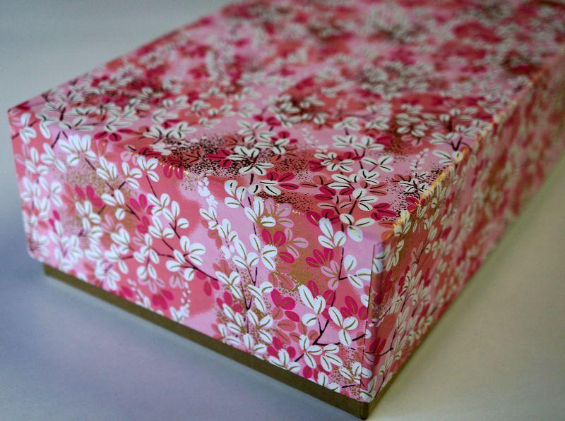 千代紙と民藝紙を使って別注で作製したUS向け貼り箱の商品用ギフトボックス