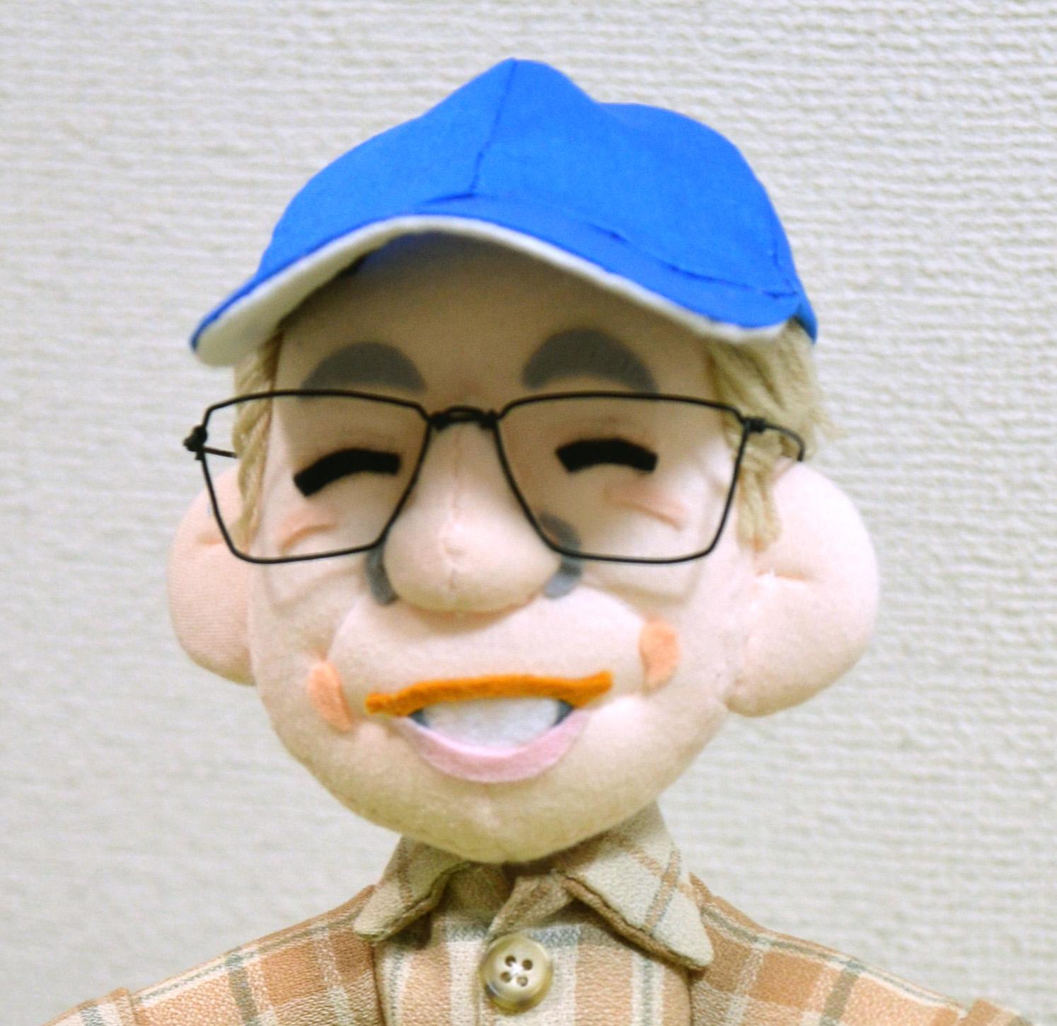 そっくり人形、青い帽子のぬいぐるみ(小)