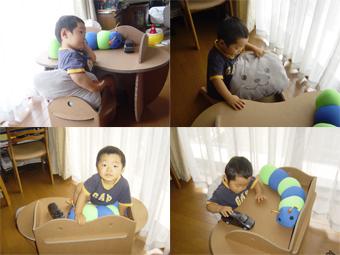 ダンボール家具子ども用学習机の使用状況