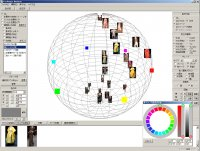 色立体に、色や画像、ピクセルを分布させて傾向を見る機能です
